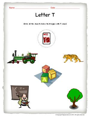 Preview image for worksheet with title Letter T