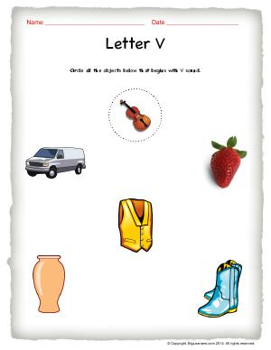Preview image for worksheet with title Letter V