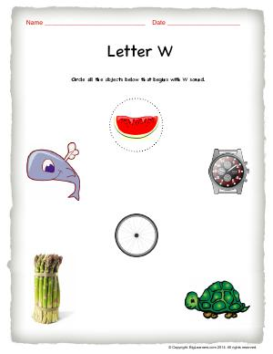 Preview image for worksheet with title Letter W