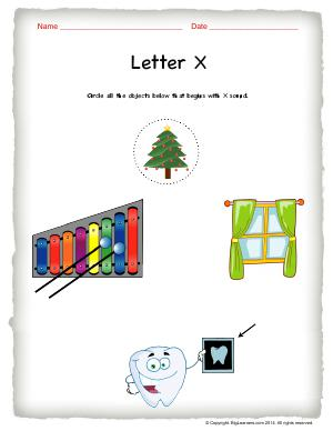 Preview image for worksheet with title Letter X