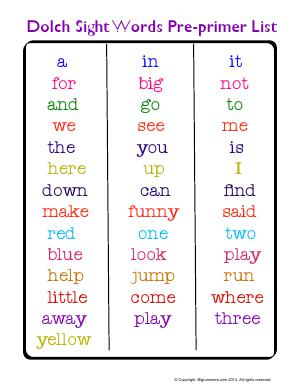 Preview image for worksheet with title Dolch Sight Word Pre-Primer List