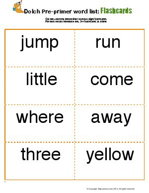 Preview image for worksheet with title Dolch Pre-Primer Word List : Flashcards