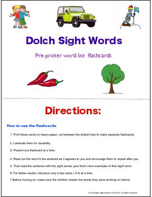Preview image for worksheet with title Dolch Sight Words : Pre-Primer Word List Flashcards