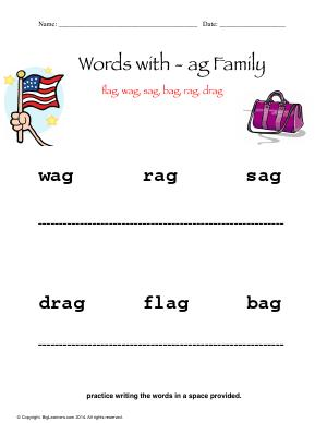 Preview image for worksheet with title Words With - ag Family ( Short a Sound )