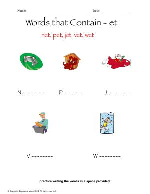 Preview image for worksheet with title Words that Contain - et