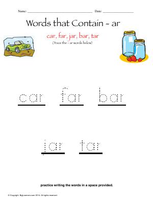 Preview image for worksheet with title Words that Contain - ar
