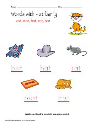Preview image for worksheet with title Words With - at Family
