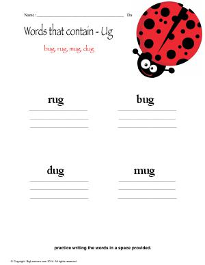 Preview image for worksheet with title Words that Contain - ug