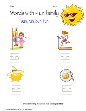 Preview image for worksheet with title Words With - un Family