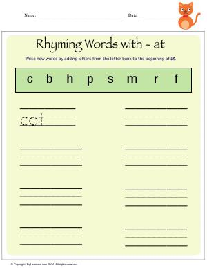 Preview image for worksheet with title Rhyming Words With - at