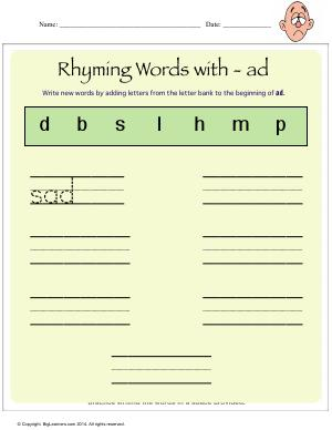 Preview image for worksheet with title Rhying Words With - ad