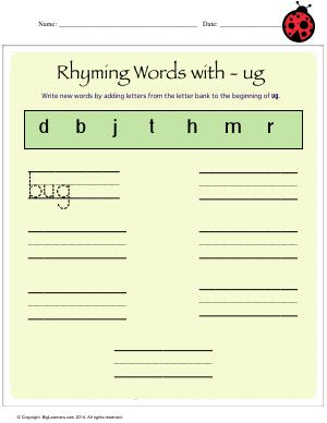 Preview image for worksheet with title Rhyming Words With - ug