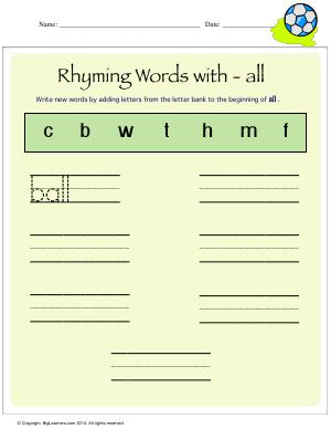 Preview image for worksheet with title Rhyming Words With - all