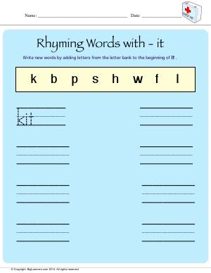 Preview image for worksheet with title Rhyming Words With - it