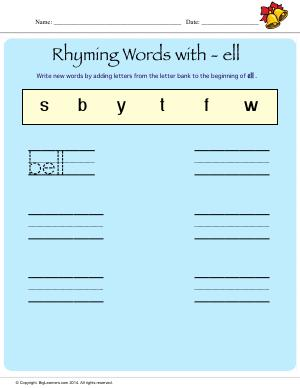 Preview image for worksheet with title Rhyming Words With - ell