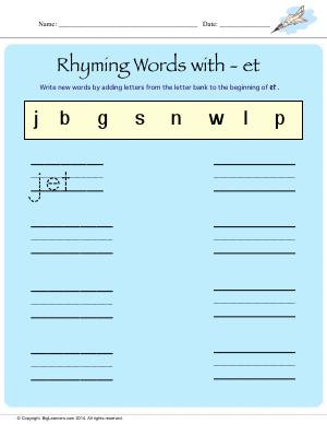 Preview image for worksheet with title Rhyming Words With - et