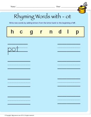 Preview image for worksheet with title Rhyming Words With - ot