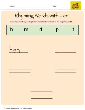 Preview image for worksheet with title Rhyming Words With - en
