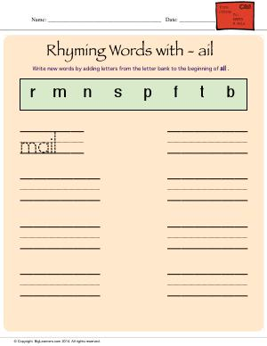 Preview image for worksheet with title Rhyming Words With - ail