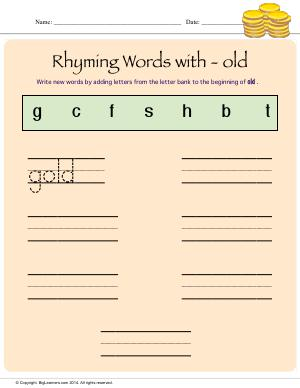 Preview image for worksheet with title Rhyming Words With - old