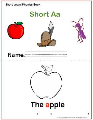 Preview image for worksheet with title Short Vowel Phonics Book - Short Aa Sound