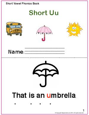 Preview image for worksheet with title Short Vowel Phonics Book - Short Uu Sound