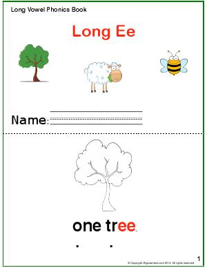 Preview image for worksheet with title Long Vowel Phonics Book - Long Ee Sound