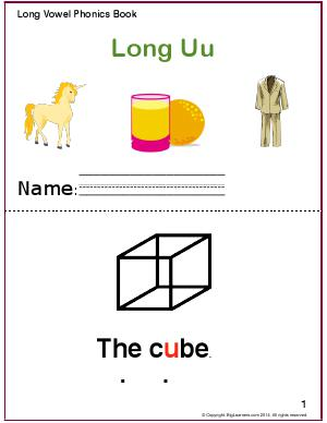 Preview image for worksheet with title Long Vowel Phonics Book - Long Uu Sound