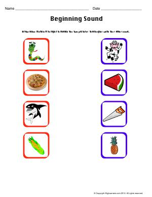 Preview image for worksheet with title Beginning Sound