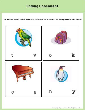 Preview image for worksheet with title Ending Consonant