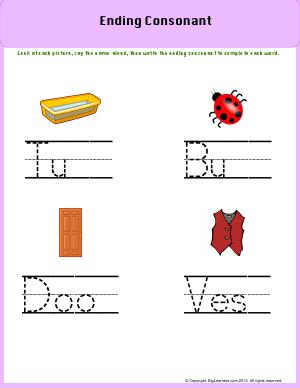 Preview image for worksheet with title Ending Sound