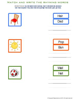 Preview image for worksheet with title Match and Write the Rhyming Words