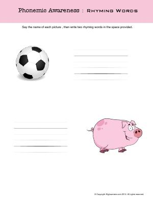 Preview image for worksheet with title Phonemic Awareness : Rhyming Words