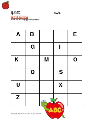 Preview image for worksheet with title ABC Learning