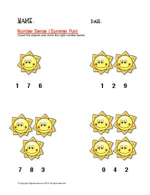 Preview image for worksheet with title Number Sense ( Summer Fun )