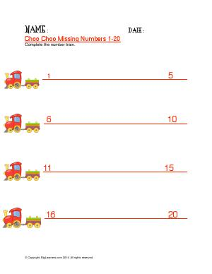 Preview image for worksheet with title Choo Choo Missing Numbers 1 - 20