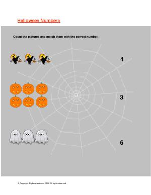 Preview image for worksheet with title Halloween Numbers