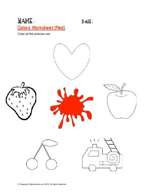 Preview image for worksheet with title Colors Worksheet ( Red )