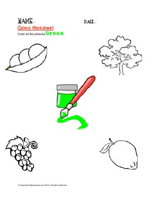 Preview image for worksheet with title Colors Worksheet ( Green )