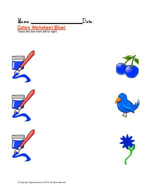 Preview image for worksheet with title Colors Worksheet ( Blue )