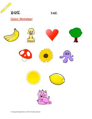 Preview image for worksheet with title Colors Worksheet ( Yellow )