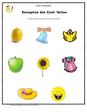 Preview image for worksheet with title Recognize the Color Yellow