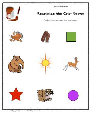 Preview image for worksheet with title Recognize the Color Brown