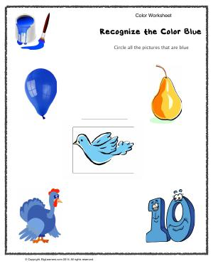 Preview image for worksheet with title Recognize the Color Blue