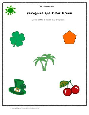 Preview image for worksheet with title Recognize the Color Green