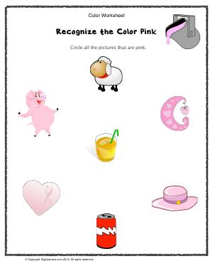 Preview image for worksheet with title Recognize the Color Pink