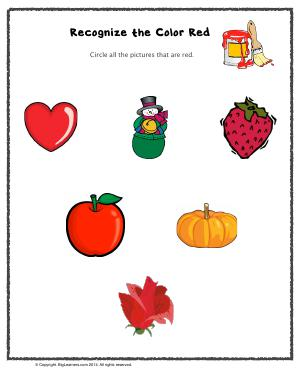 Preview image for worksheet with title Recognize the Color Red