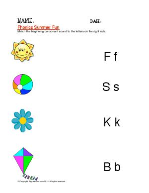 Preview image for worksheet with title Phonics Summer Fun