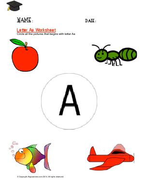 Preview image for worksheet with title Letter Aa Worksheet