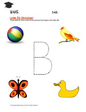 Preview image for worksheet with title Letter Bb Worksheet
